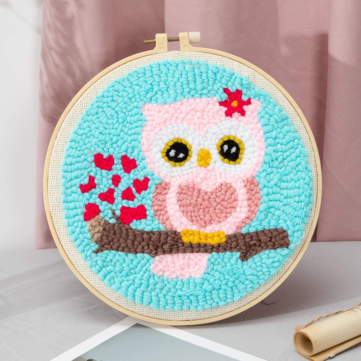 Maydear Punch Needle Starter Kit for Beginner Cartoon Rug Hooking Beginner Kit with an Embroidery Pen and 9.5 Hoop Pink owl