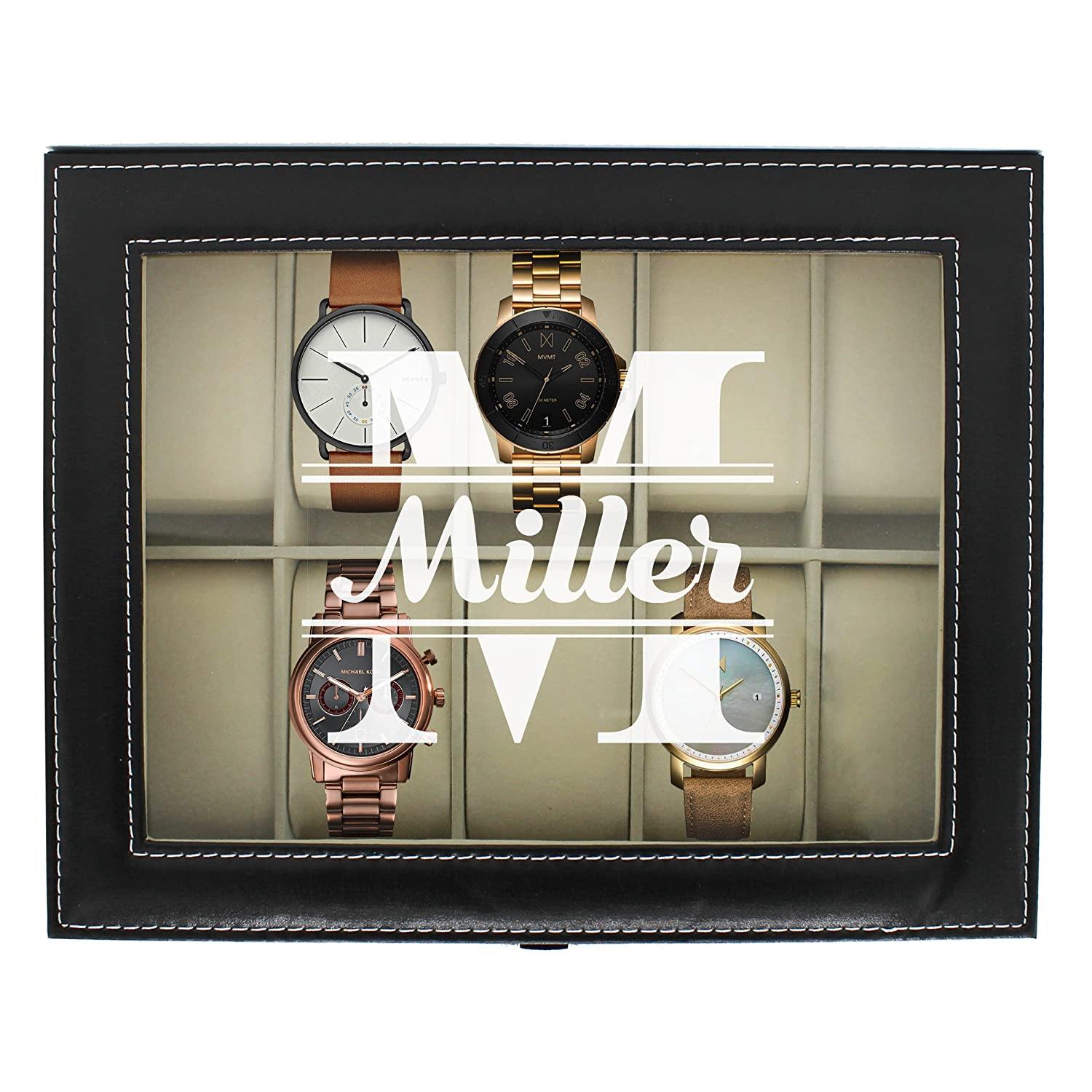 Engraved Watch Box For Men Personalized Gifts For Him Custom Husband Boyfriend Gift