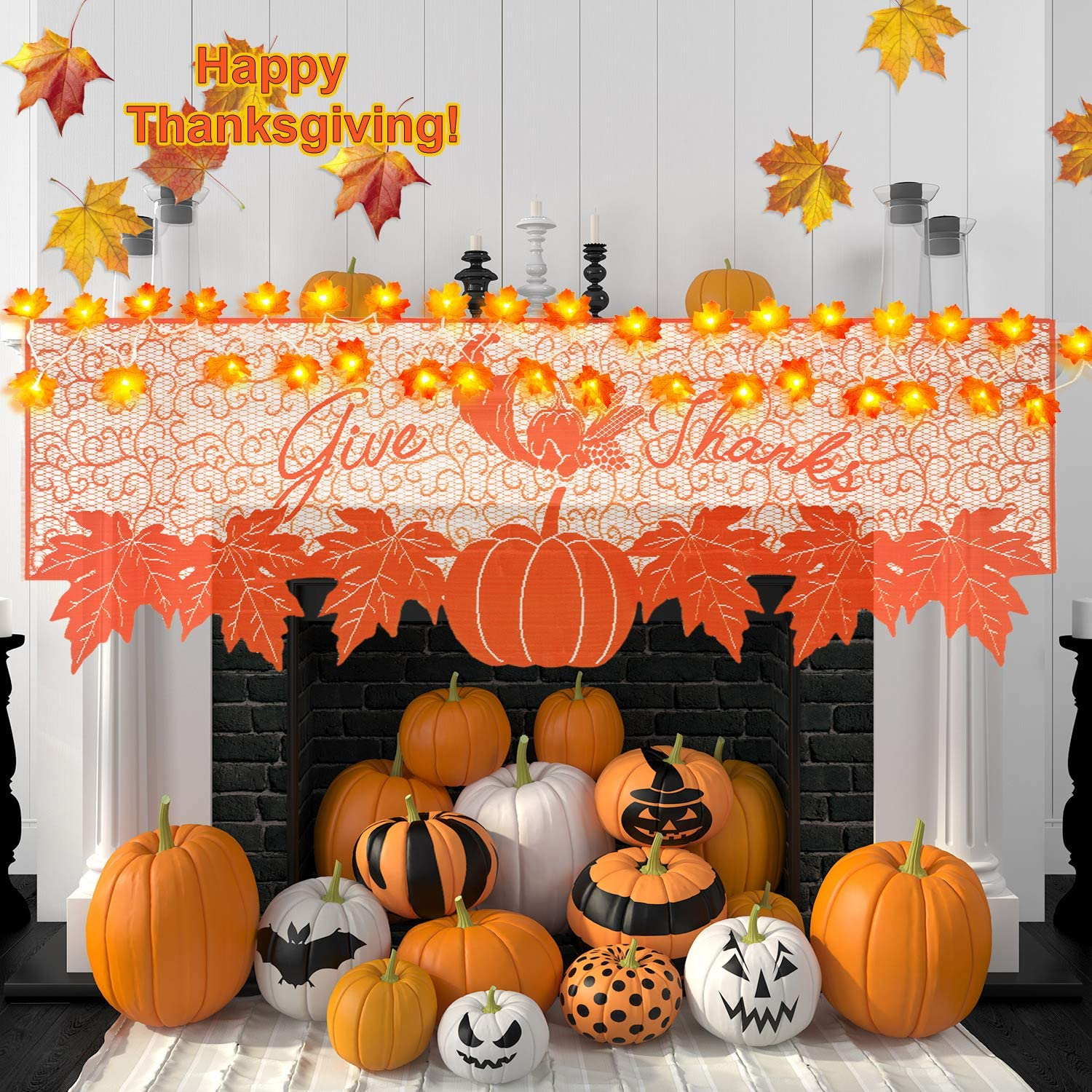 Fall Decoration Thanksgiving Decor Fireplace Scarf Maple Leaves Mantle Scarf Holiday Fireplace Decorations with Maple Leaves String Lights 20 LED Fall String Lights for Home Indoor Decoration