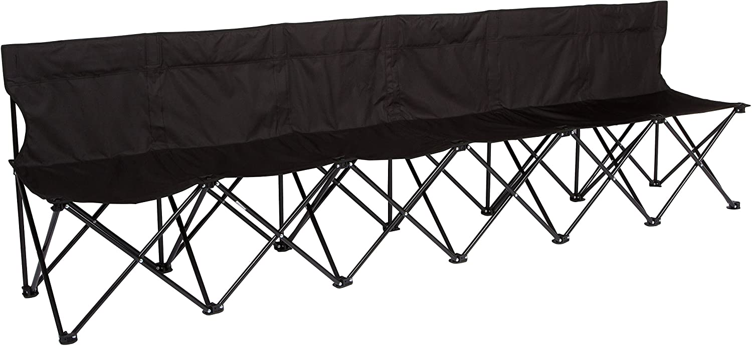 Sits 6 People Red Trademark Innovations Portable Sports Bench with Back