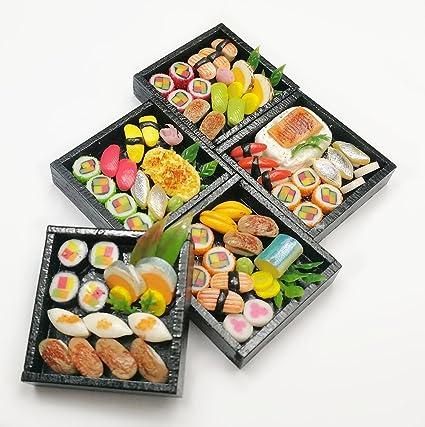 4 Sushi Bento Wooden Box Dollshouse Miniatures Japanese Food Deco Supply 8