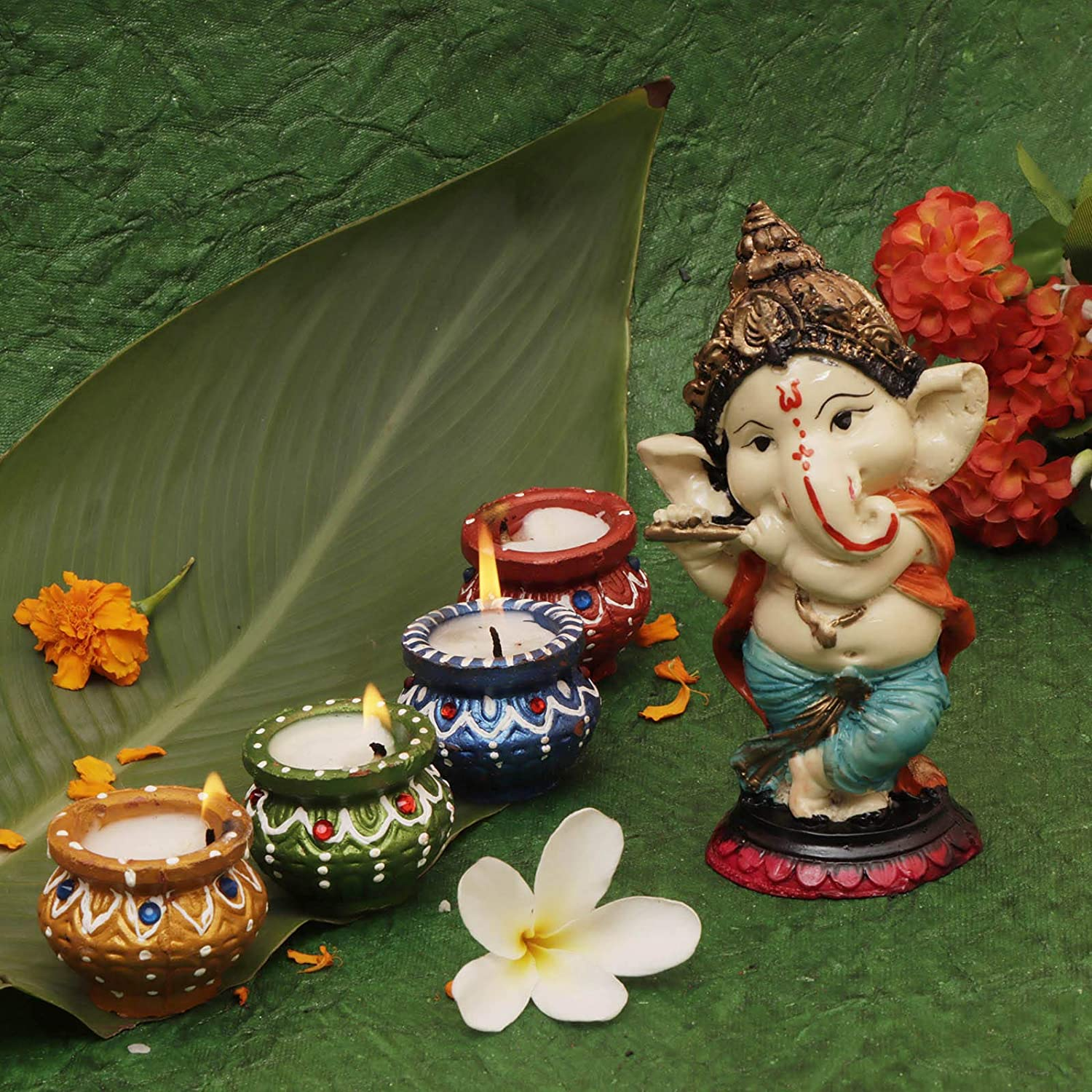 Perpetual Diya for Diwali Decoration With Flute Ganesh