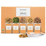 Tea Forte Organic Herbal Tea Sampler, Single Steeps Loose Leaf Tea Gift Box Variety Pack of 15 Single Serve Pouches with…