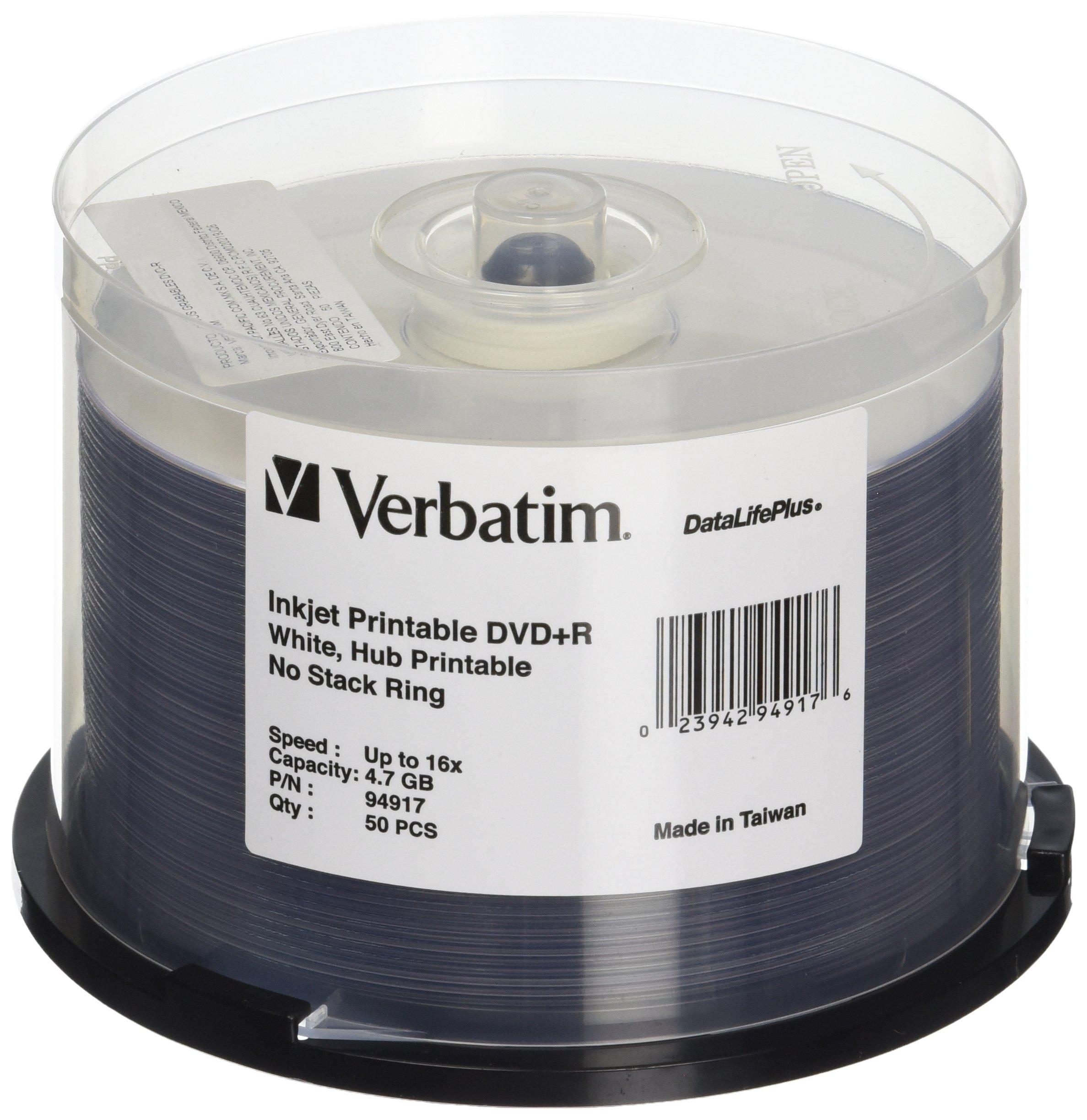 Verbatim DVD+R 4.7GB 16X DataLifePlus White Inkjet Printable, Hub Printable - 50pk Spindle - 94917 by Verbatim