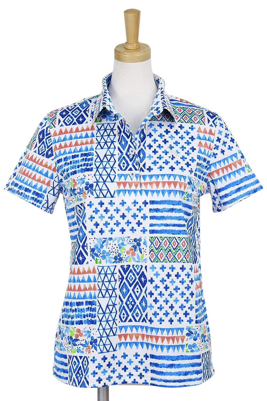 ポロシャツ レディース アダバット adabat 2019 春夏 ゴルフウェア 644-16443 M(38) ブルー系(901) B07QK61JDJ