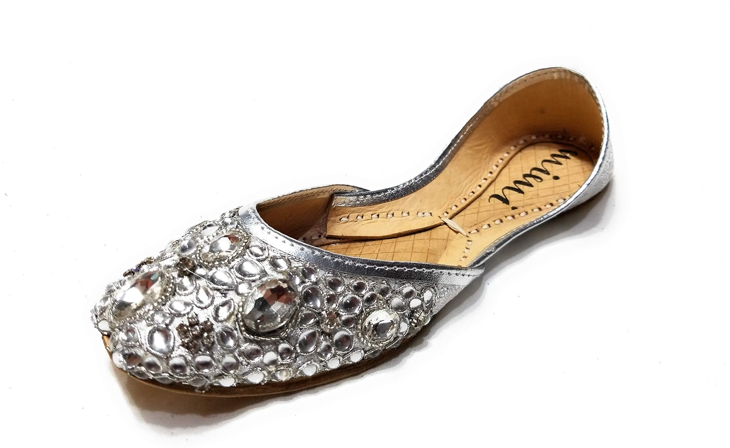 Mimi Women's Silver Jeweled gem Wedding Flat Shoes Khussa
