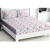 haus & kinder Floral Grace Bedsheet, 100% Cotton Bedsheet King Size with 2 Pillow Covers, 186 TC, King Size (Eleganza Pink)