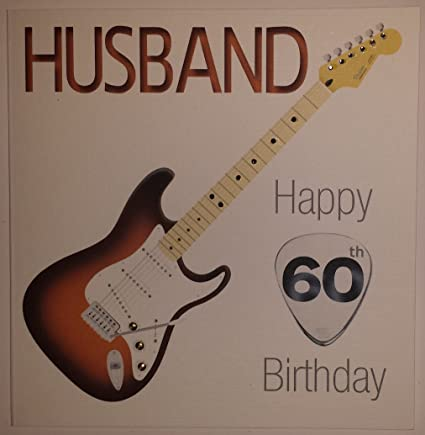 Tarjeta del feliz cumpleaños guitarra - esposo 60 cumpleaños - tarjeta hecha a mano