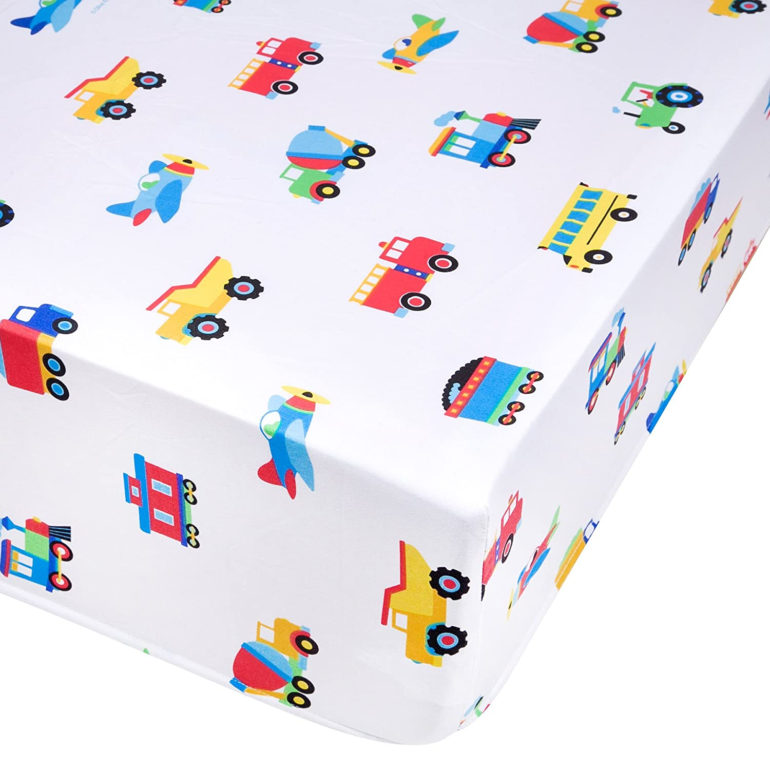 Wildkin Fitted Crib Sheet, Super Soft, Breathable Fitted Crib Sheet, Bold Patterns Coordinate Other Room Décor, Olive Kids Design – Trains, Planes & Trucks