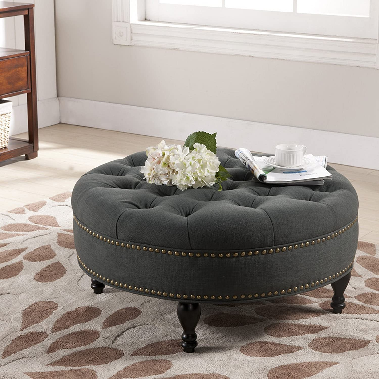 tufted gray hardwood sofa on diy living base furniture white ottoman floor upholstered black and tiles carpet dark room with table coffe in metal
