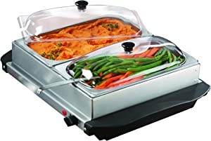 Brentwood 3-Quart 2 Pan Buffet Server and Warming Tray, Brushed Stainless Steel
