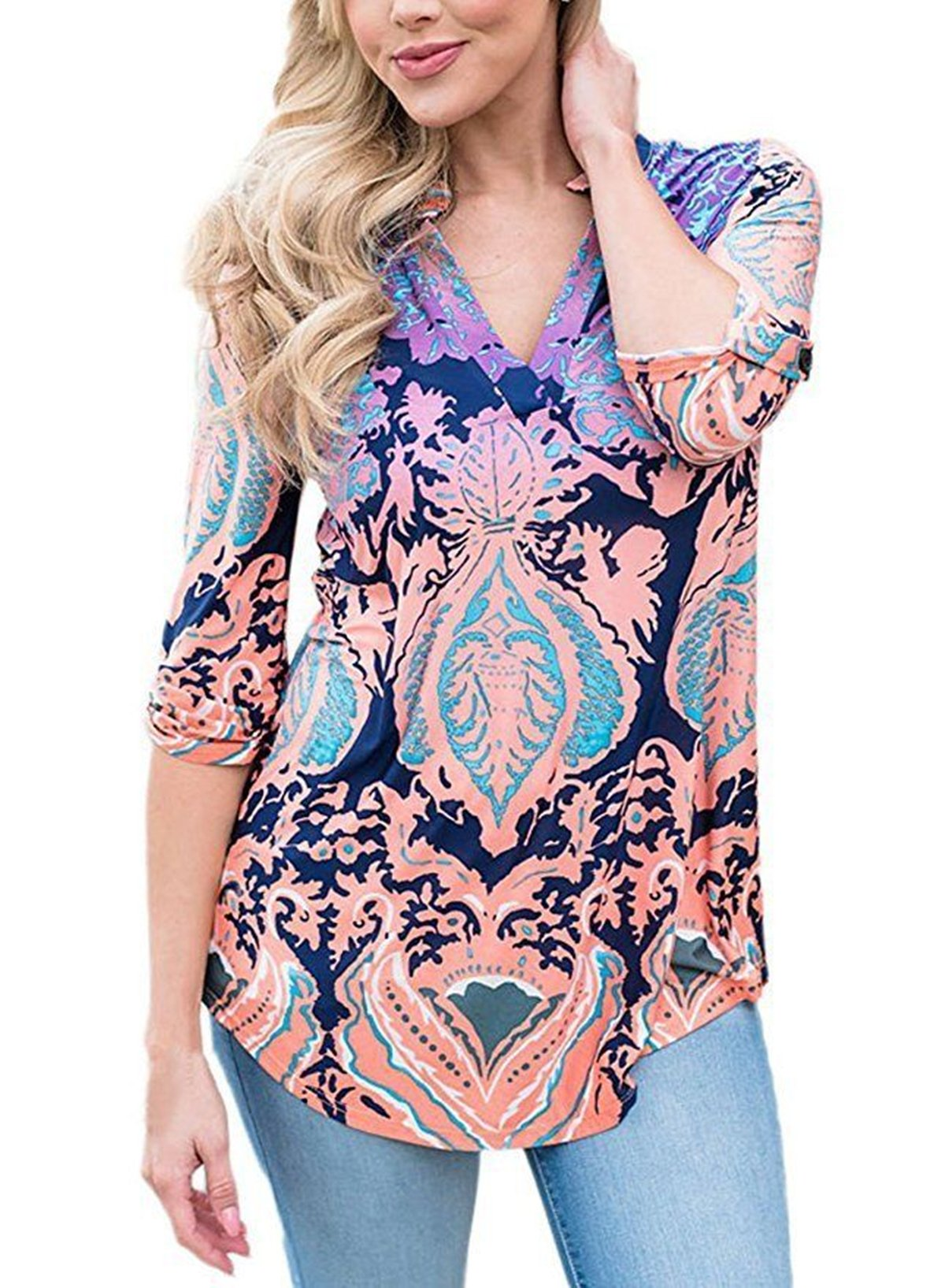 Sheshares Women 3 4 Tab Sleeve Shirts V Neck Tunic Floral Print Tops Casual Blouse
