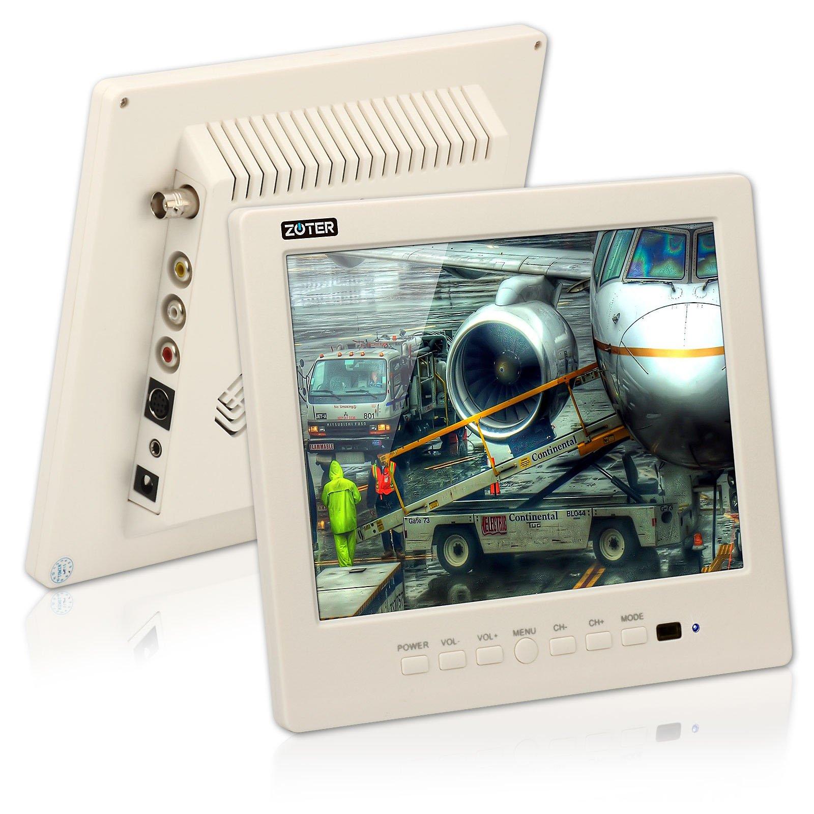 CCTV Monitor, BNC, Speaker, ZOTER 8'' inch Portable Audio LCD Mini Screen White for Security Camera DVR
