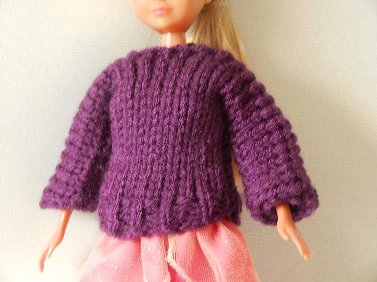 Purple Doll Sweater fits Barbie, Sparkle Girlz and other 11 inch fashion dolls.