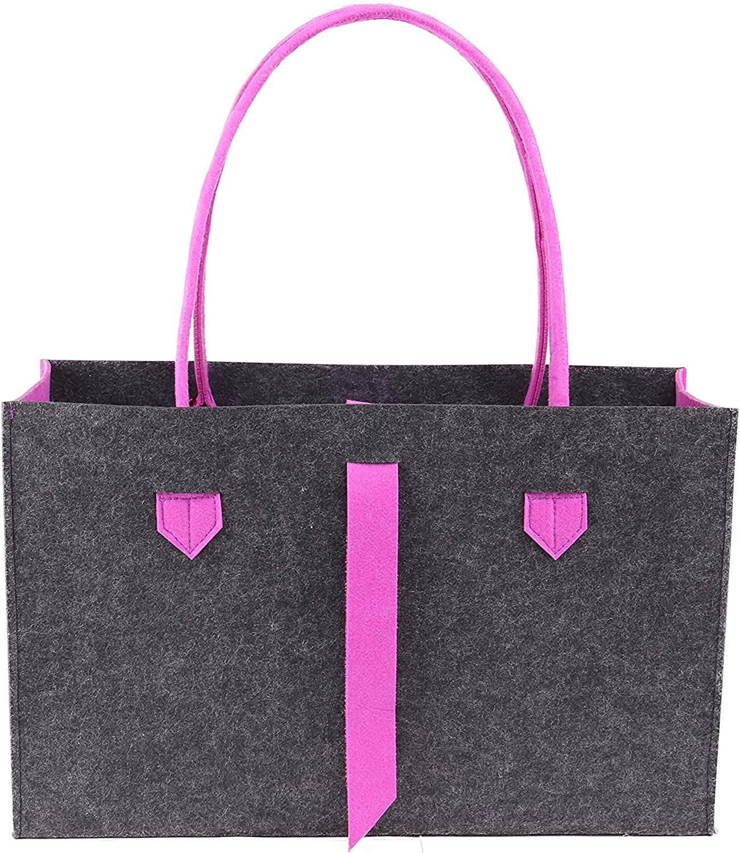 RAIKOU Practical Shopping Bag Leisure Bag Storage Containers Handle Length 70cm /& 90cm Contrast Colours Fashion Womens Tote Bag Purple//Anthracite 01, 50x18x31cm