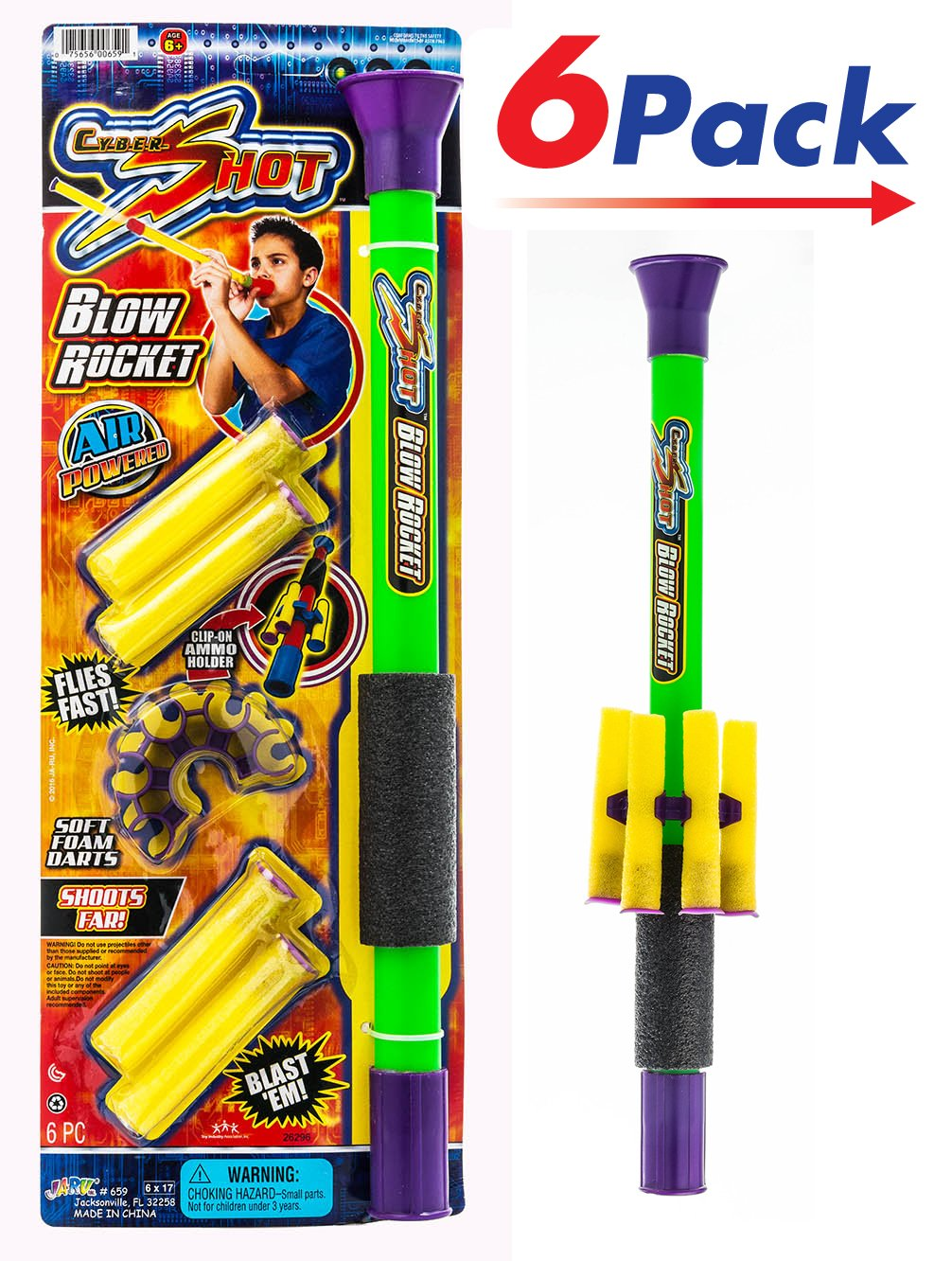 Foam Darts Blow Gun by 2Chill |Toy Gun for Kids Pack of 6 | Item #659