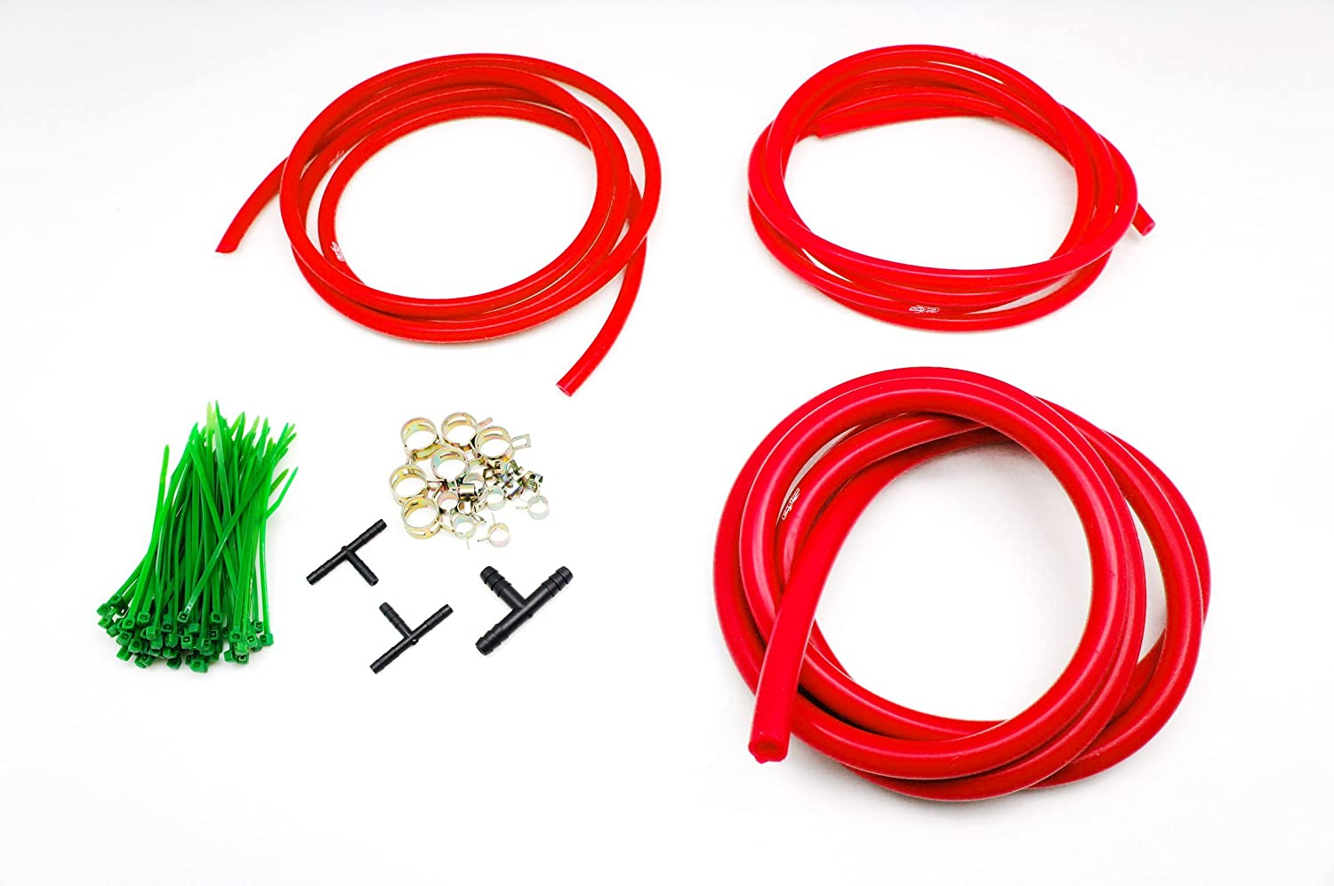 Autobahn88 Engine Room Silicone Vacuum Hose Dress Up DIY Kit, Fit All Models of Mustang (Red)