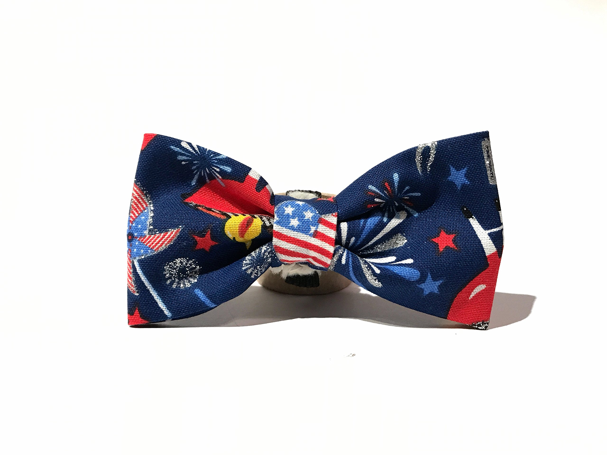 Very Vintage Design Dog Cat Collar Bow Tie July 4th Red White Blue Fireworks BBQ Playful Summer Fun Hand Crafted Collection Organic Cotton Personalized Adjustable Pet Bowtie