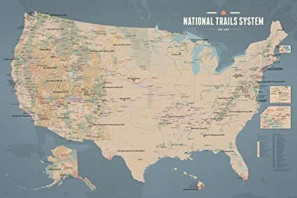 Amazoncom US National Trails System Map X Poster Tan Slate - Us trails map