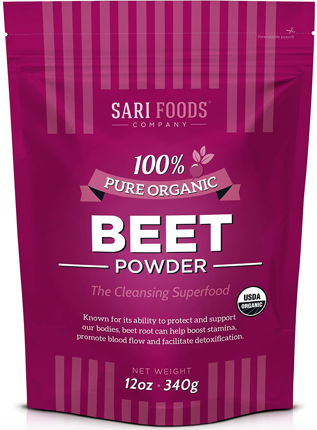 Organic Beet Root Powder 12 Ounce Natural Plant Based Nitric Oxide Booster, Whole Food Superfood, Vegan Paleo Friendly