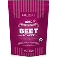 Organic Beet Root Powder (12 Ounce) Natural Plant Based Nitric Oxide Booster, Whole...