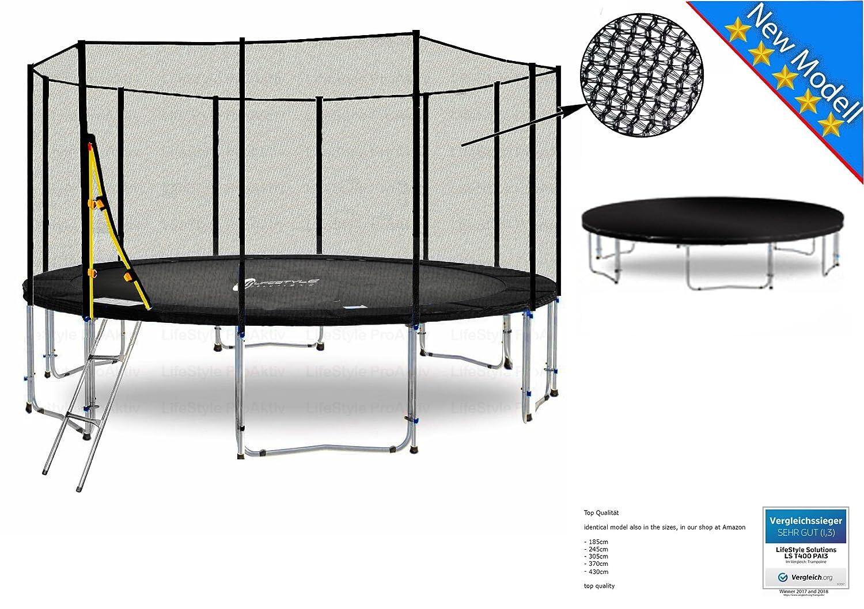 LS-T400-PA13 (SWD) DELUXE LifeStyle ProAktiv Garten- Trampolin 400 cm - 13ft - Extra Starkes Sicherheitsnetz - 180kg Traglast - Neu