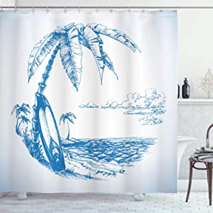 """Ambesonne Surf Shower Curtain, Contemporary Sketch Illustration Hawaiian Beach with Surfboard Palms and Ocean Water, Cloth Fabric Bathroom Decor Set with Hooks, 70"""" Long, Blue and White"""