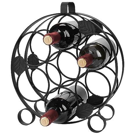 Moderno encimera Circular Negro metal Botella de vino pantalla Rack – sostiene hasta 7 botellas