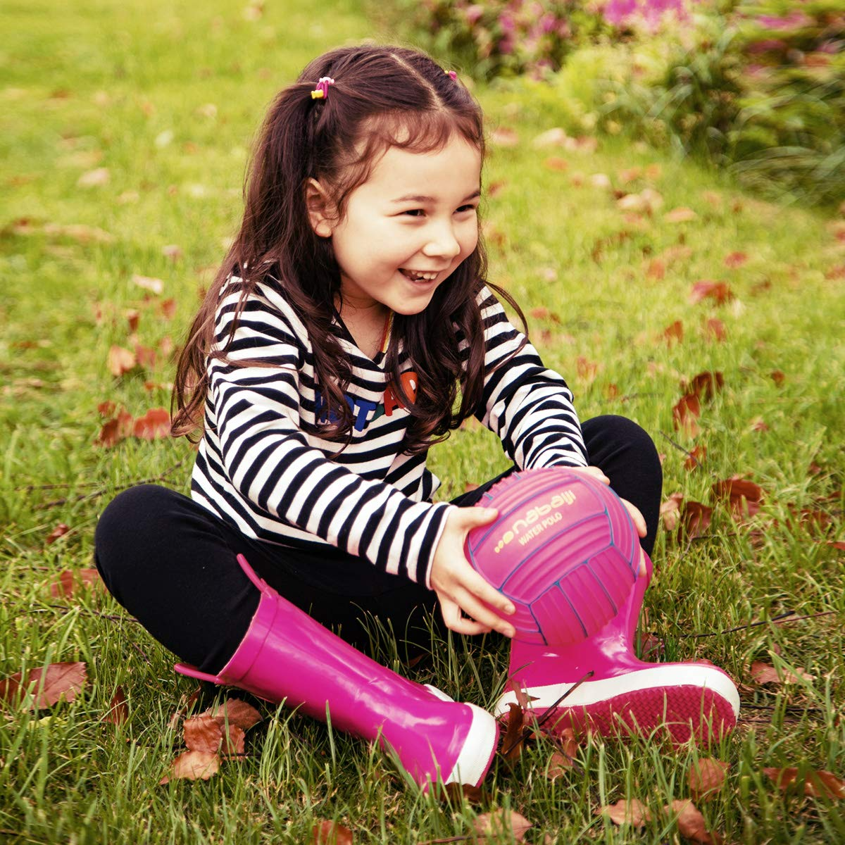 KomForme Kids Rain Boots, Plain Color Girl Rubber Boots Waterproof with Handles Pink by KomForme (Image #6)