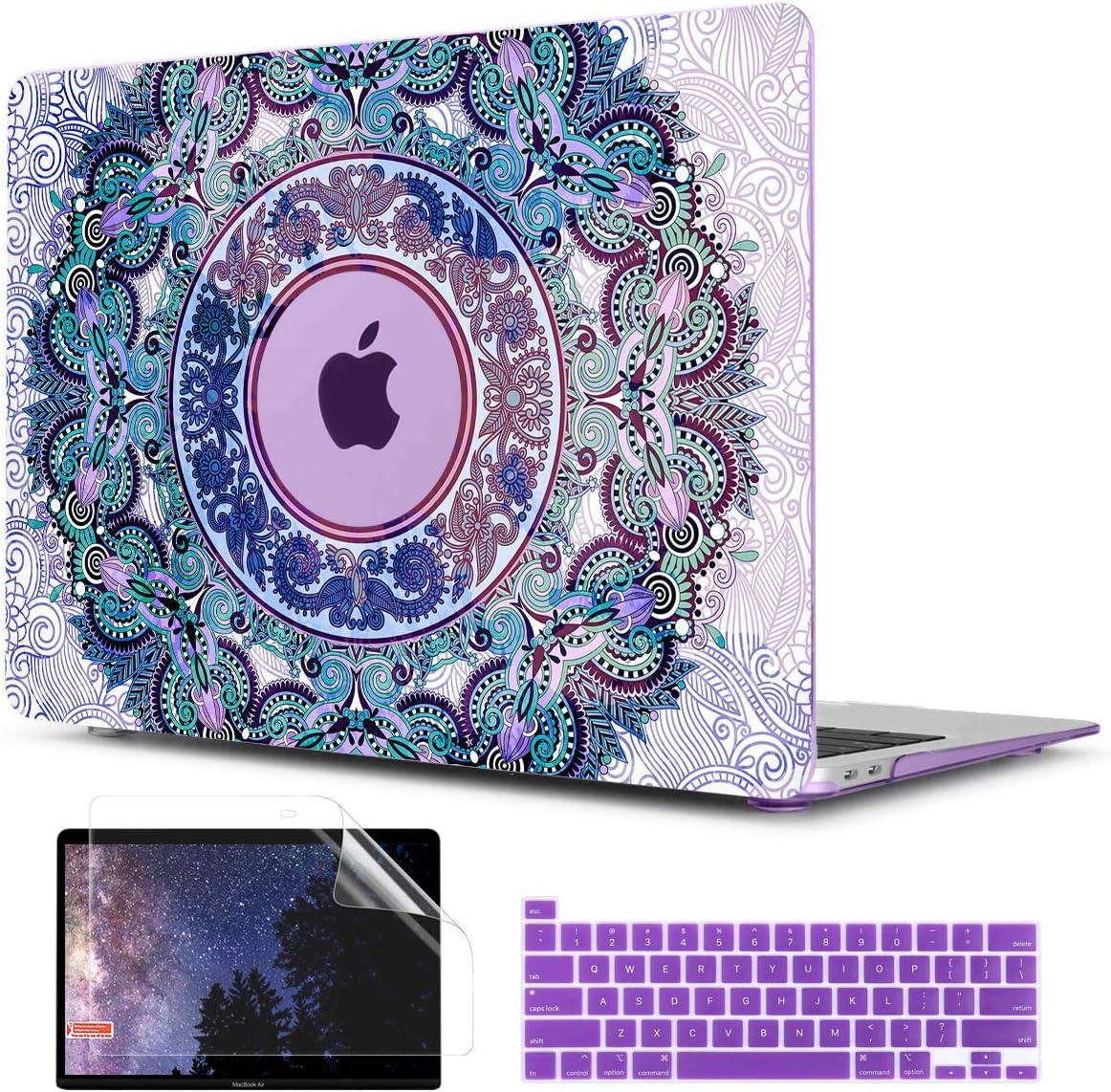 TwoL Purple Mandala Hard Shell Case Keyboard Skin Screen Protector for New MacBook Pro 13 inch 2020 Model A2251 A2289