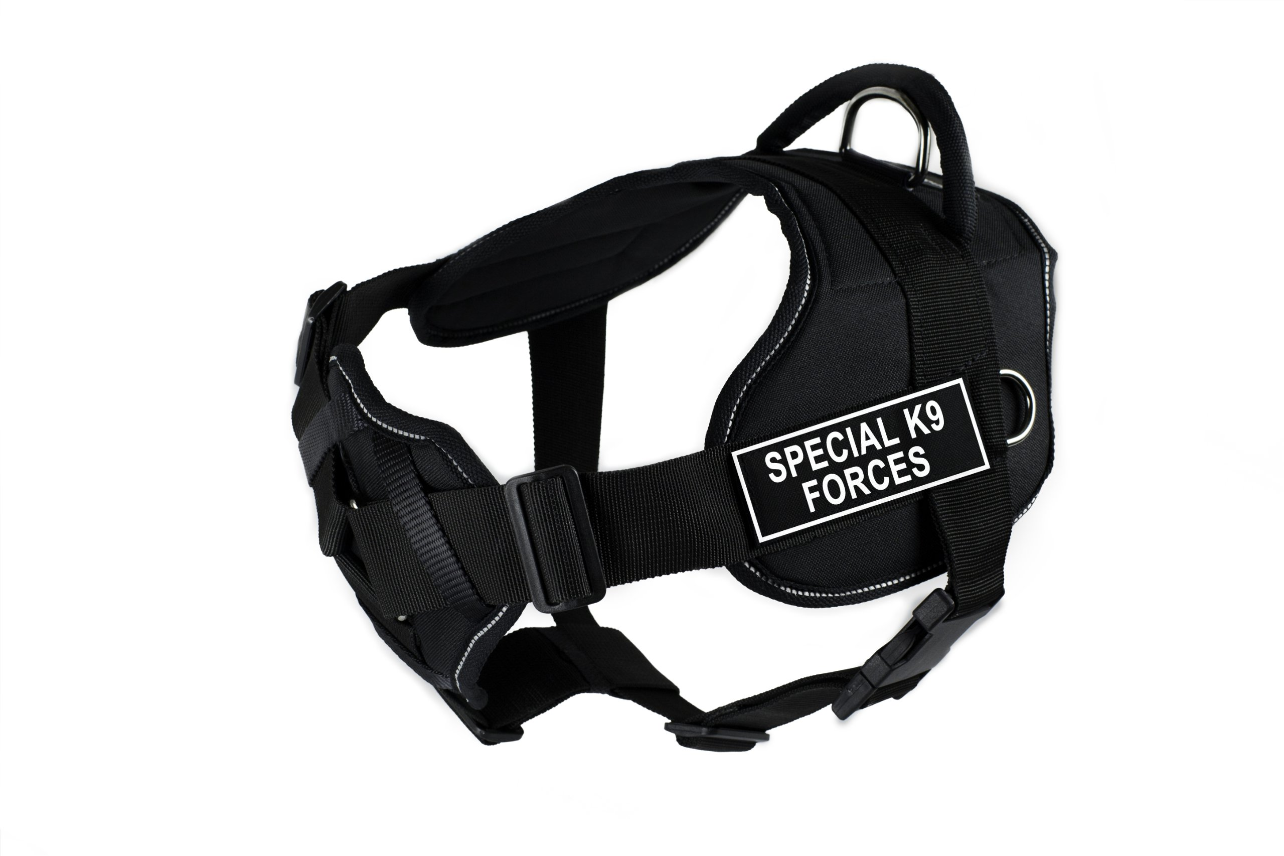Dean & Tyler D&T FUN-CH SK9F RT-L Fun Harness with Padded Chest Piece, Special K9 Forces, Large, Black with Reflective Trim