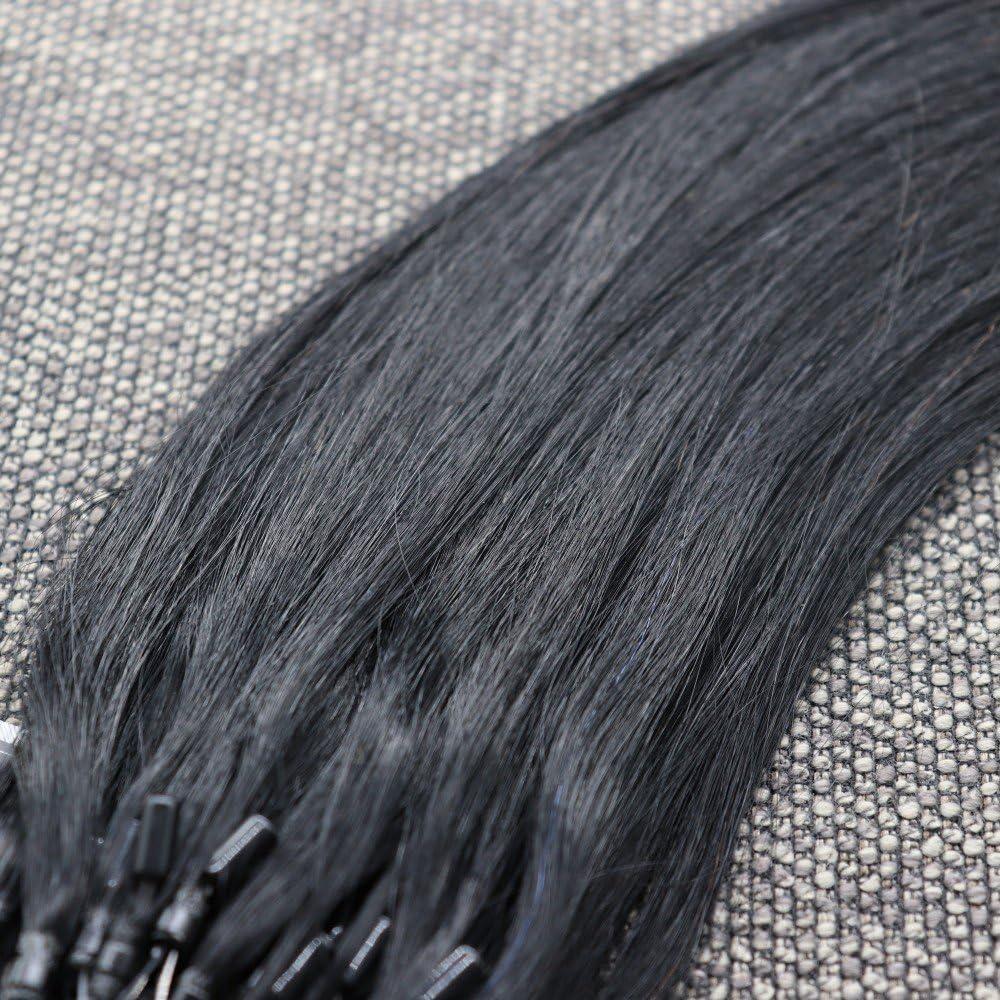 Micro Loop - Mechones de cabello humano. 1 gr. por mechón, 50 unidades. Extensiones de cabello humano sedoso liso y pre-adherido con micro anillo. ...