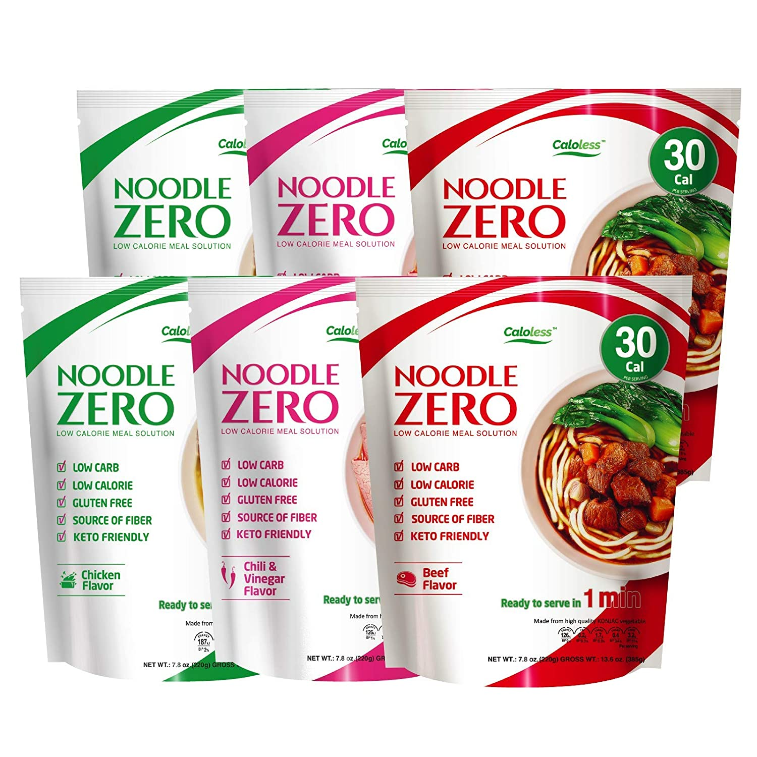 Caloless Konjac Shirataki Noodles 6-Pack Low Calorie Healthy Food Weight Loss (Chicken/Beef/chilli)-Gluten Free, Keto Snacks, Non Gmo, Low Carbs Glucomannan Diabetic Miracle Noodle Pasta Flavor Variety Pack