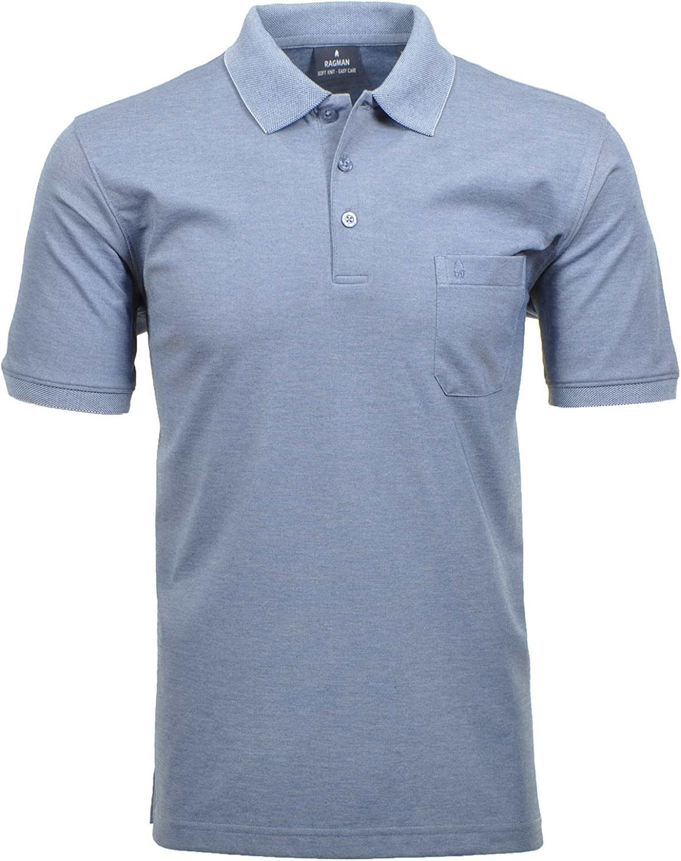 Ragman Herren Kurzarm Softknit Poloshirt
