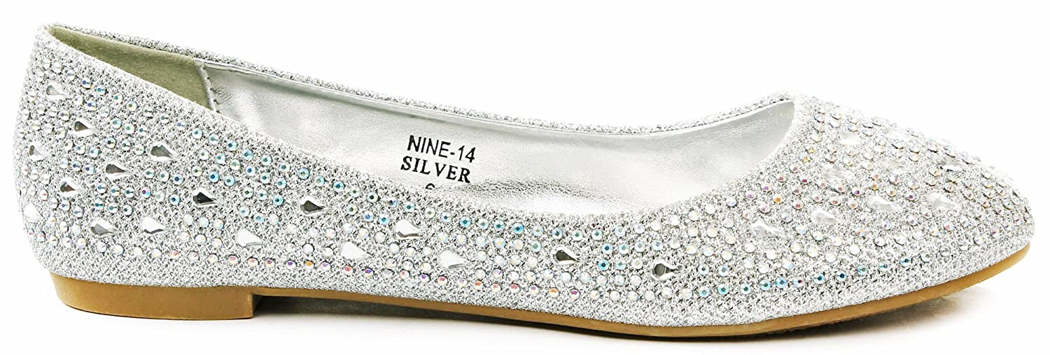 JJF Shoes Anna Womens Nine14 Sparkle Raindrop Rhinestone Glitter Mesh Loafer Ballet Flat Dress Shoes B00PE7TCZI 8 B(M) US|Silver
