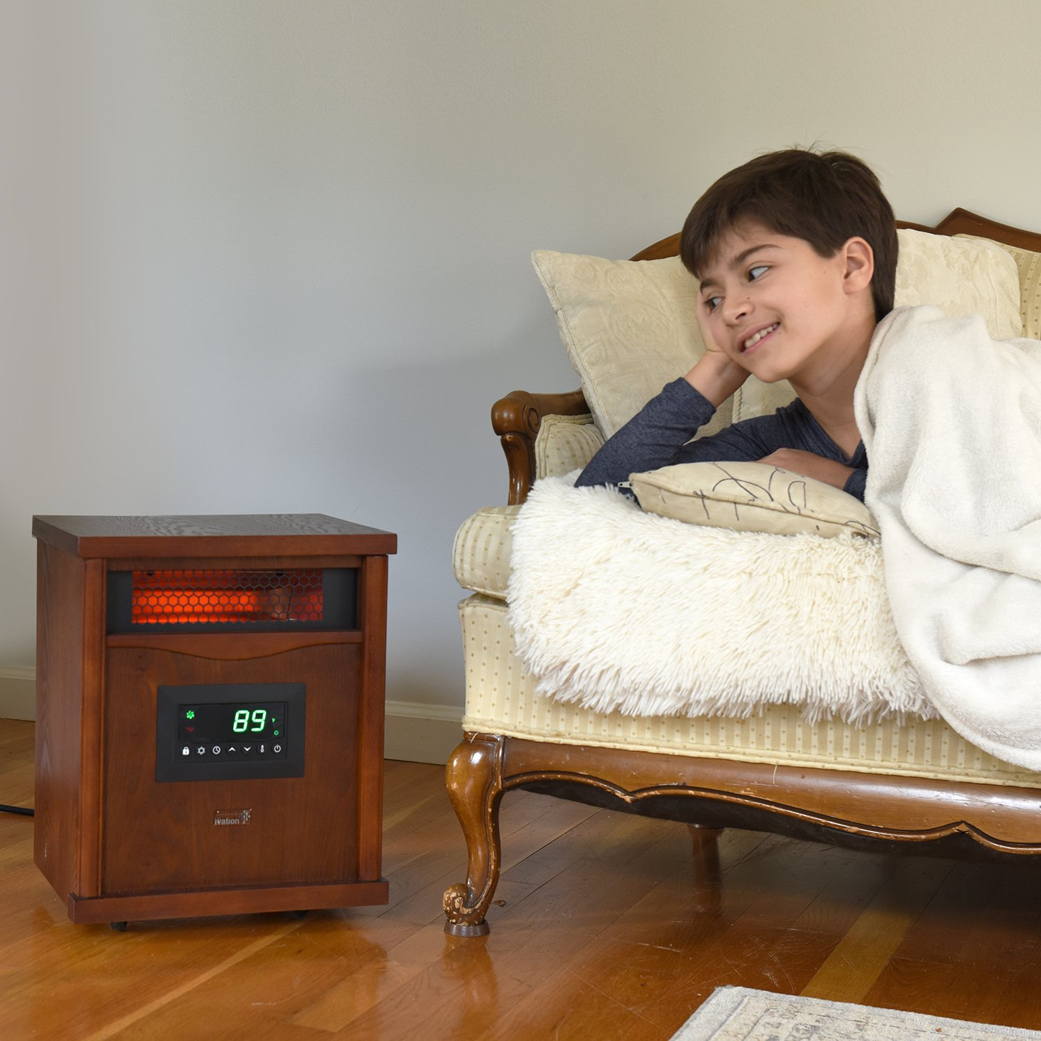 Ivation Portable Electric Space Heater, 1500-Watt 6-Element Infrared Quartz Mini Heater With Digital Thermostat, Remote Control, Timer & Filter by Ivation (Image #5)