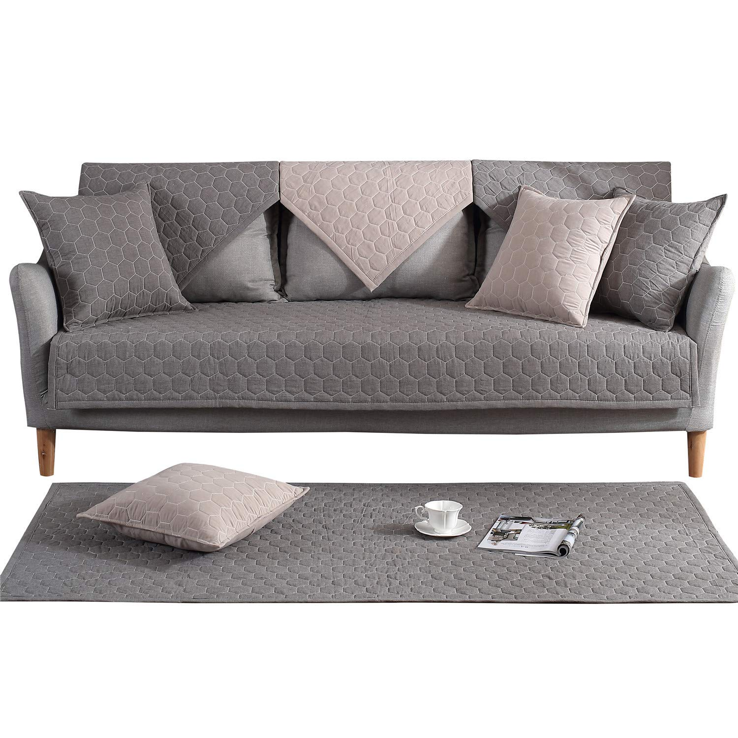 ostepdecor 100 %コットンキルト風ソファー家具プロテクターCouch Slipcoverペット犬の子キッズ 背もたれとアームレストSold Separately 36