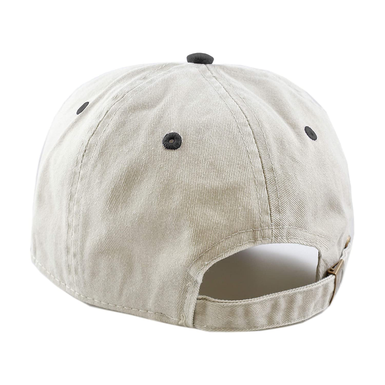 0a0de2d3282 THE HAT DEPOT Cotton Pigment Dyed Low Profile Six Panel Cap (Beige Black)  at Amazon Men s Clothing store