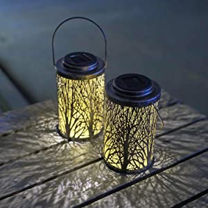 Hanging Solar Lights Outdoor - Solar Lanterns Garden Solar Patio Table Lamps Decorative SUNWIND 2 Pack for Garden, Backyard, Tree, Porch, Wall, Fence