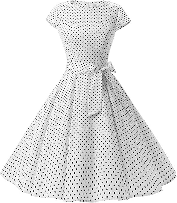 TALLA XL. Dressystar Vintage 1950s Polka Dot and Solid Color Prom Dresses Cap-Sleeve White Black Dot A XL