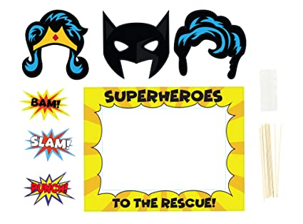 862970bd87b0 Party Photo Booth Props - 9-Pack Superhero Themed Kids Birthday Party Props