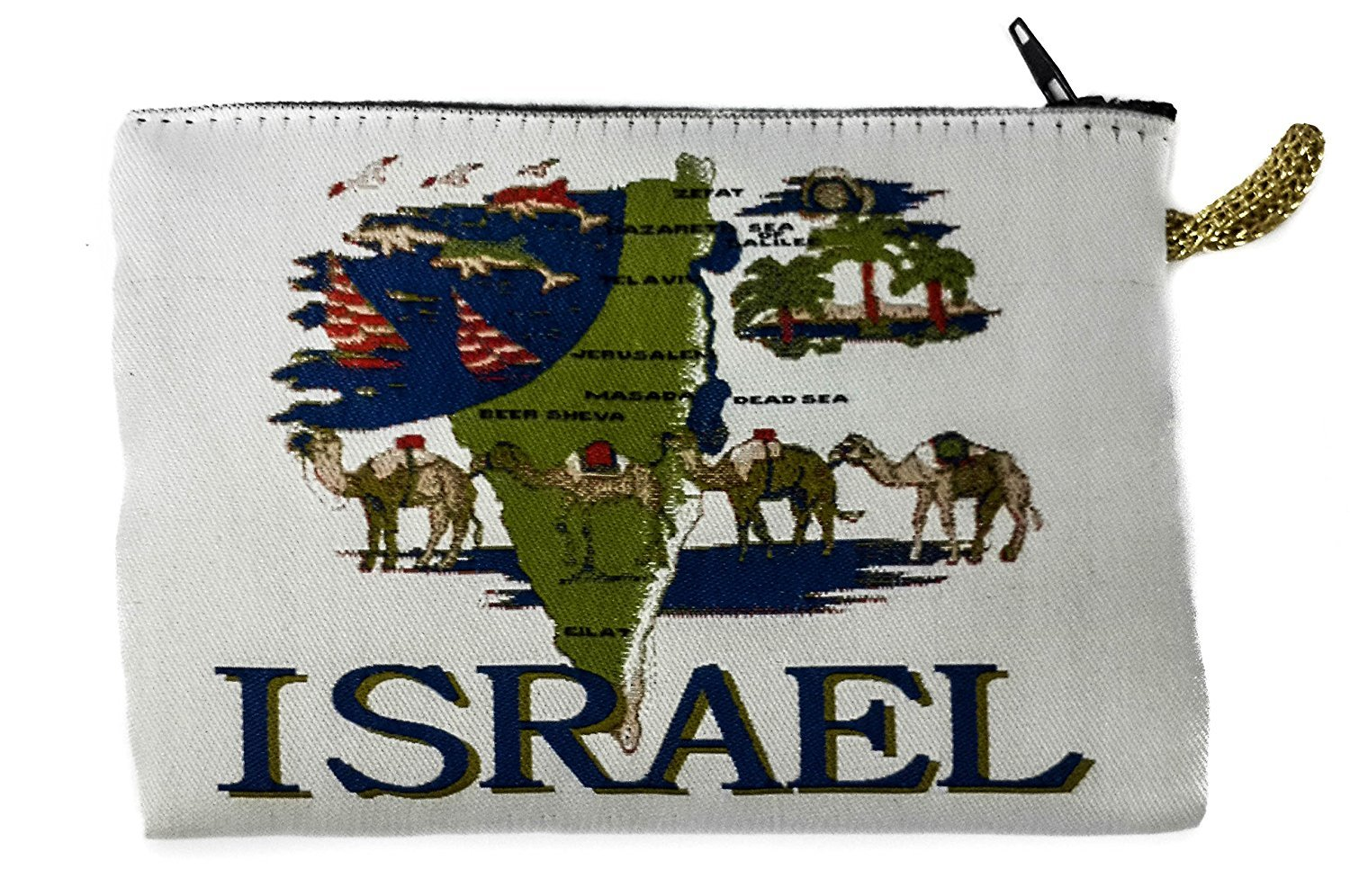 Icon Case Pouch Coin Purses Tapestry Prayer With Israel Map 5.7'' by Holy Land Gifts
