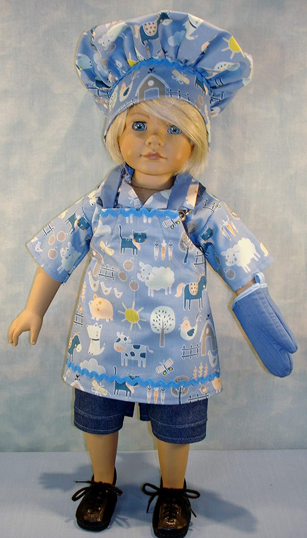 18 Inch Boy Doll Clothes Chefs Hat and Oven Mitt Set handmade by Jane Ellen Farm Animals on Blue Apron