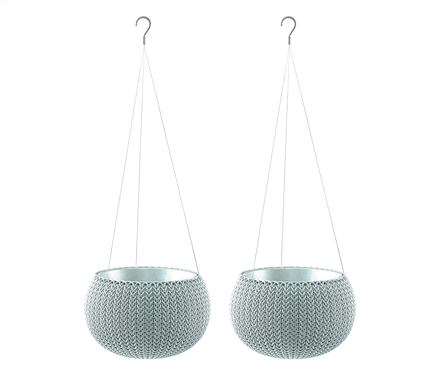 Keter Knit Cozies Hanging Baskets Plant Pot Planters, Small - Misty Blue, Pack of 2 17202963h