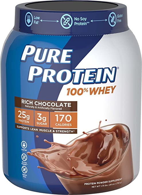 Pure Protein Powder, Whey, Great for Meal Replacement Shakes, Low Carb, Gluten Free, Rich Chocolate, 1.75 lbs