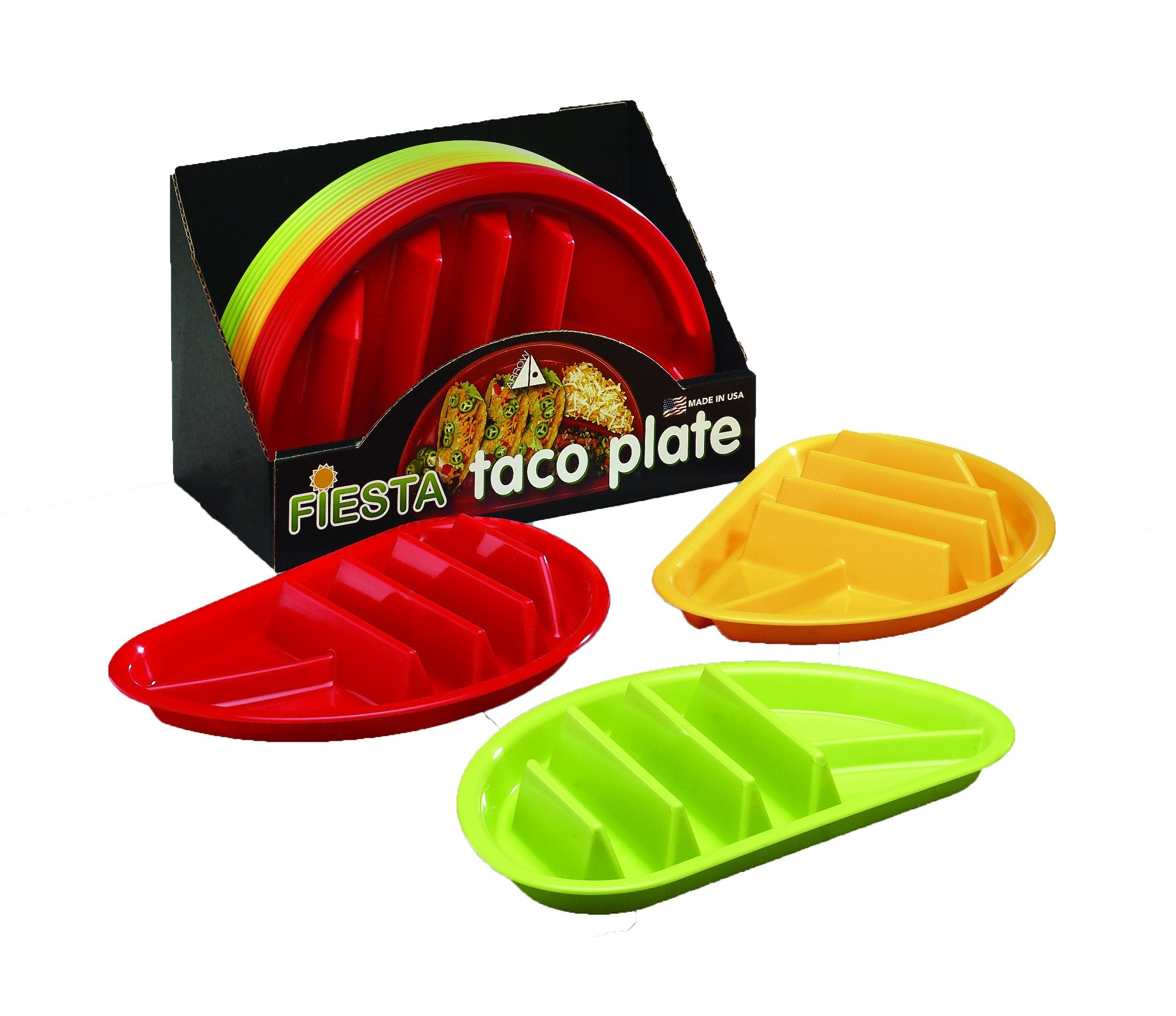 Arrow Home Products 10109 Fiesta Taco Plate, 12-Pack, Assorted Colors