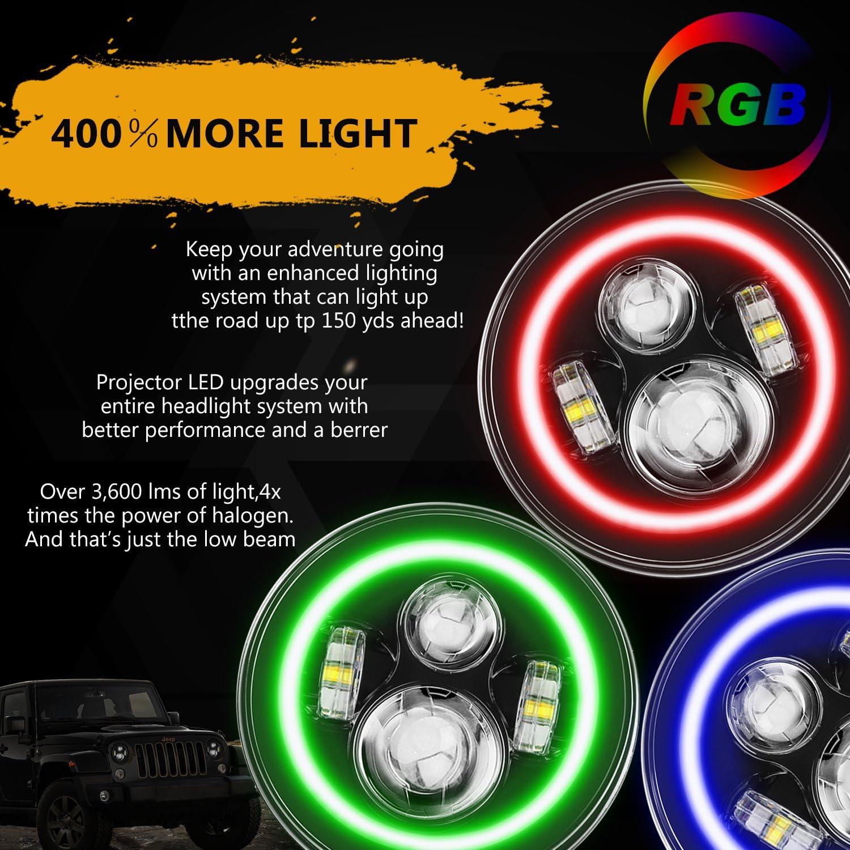 4  Halo Fog Lights for Jeep Wrangler 1997-2017 JK JKU TJ LJ Rubicon Sahara Unlimited SUNPIE 7 Inch LED Headlights BUILT IN LED CANBUS with RGB Halo
