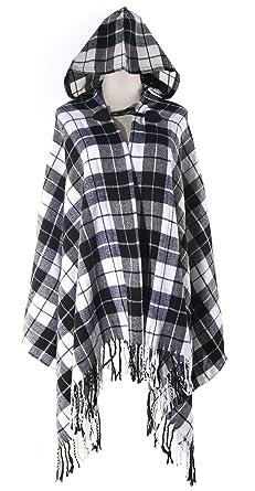 3745df1cb2 QZUnique Simple Plaid Button Blanket Scarf Shawl Women s Wrap Hooded Black  White