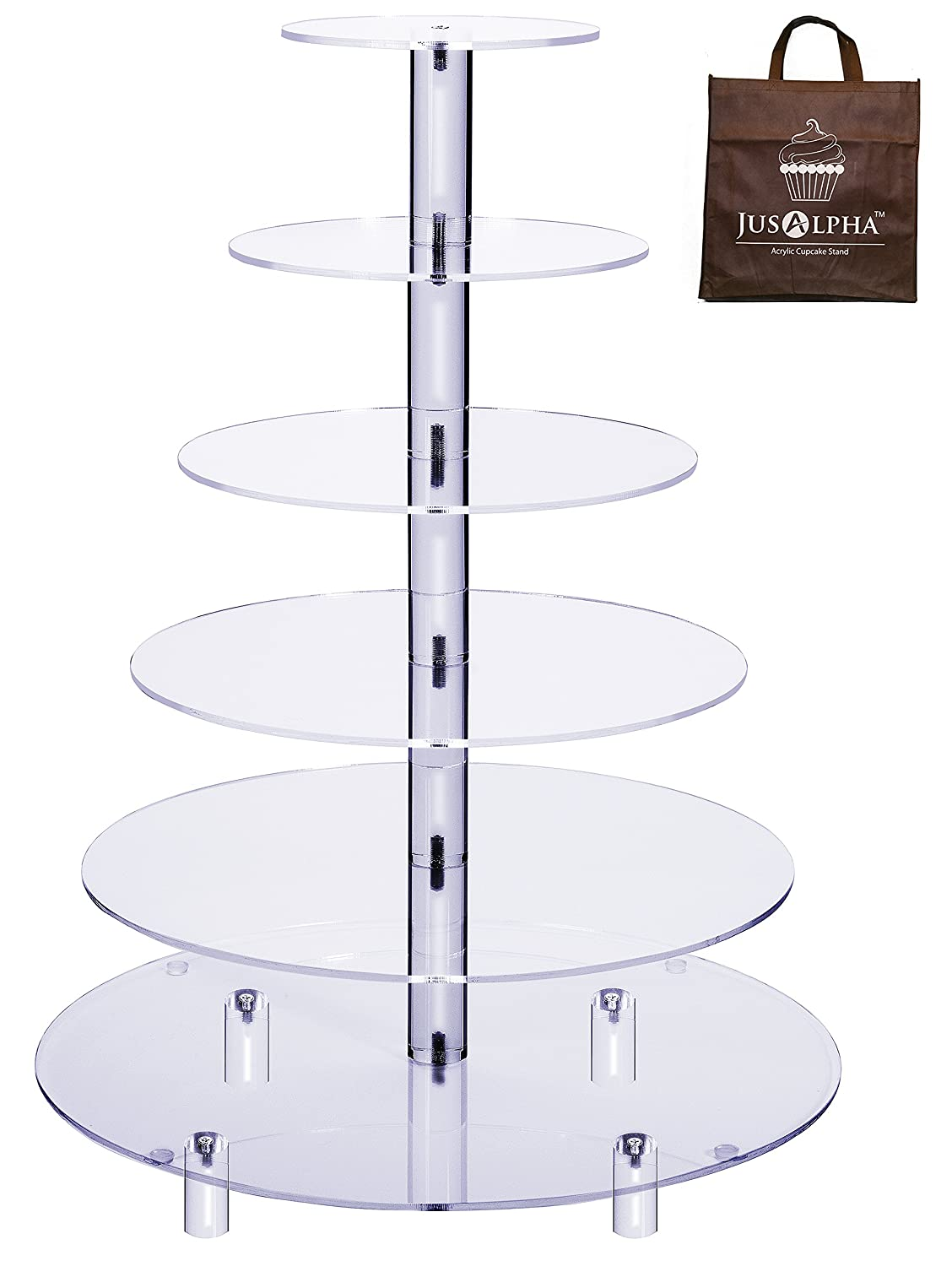 Jusalpha Large 6-Tier Acrylic Glass Round Wedding Cake Stand- Cupcake Stand Tower/ Dessert Stand- Pastry Serving Platter- Food Display Stand (Large With Rod Feet)