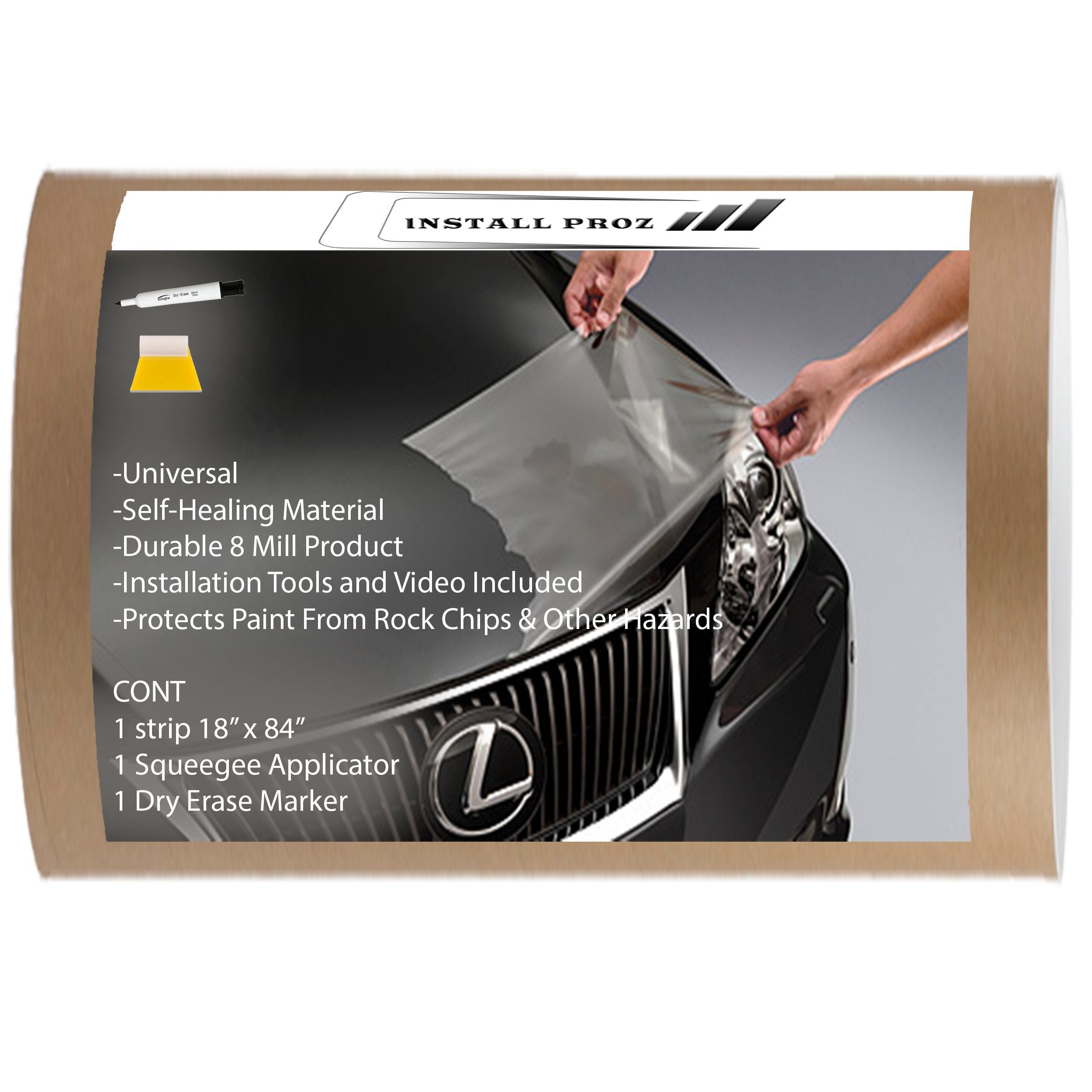 Self Healing Universal Clear Paint Protection Bra Hood And Fender Kit (18'' x 84'')